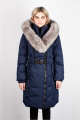 TOBOGGAN TBGGN EVA B LONG NAVY SWEETHEART DOWN JACKET