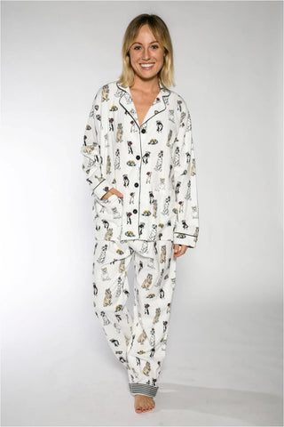 PJ SALVAGE FLANNEL PJS ROYAL DOGS