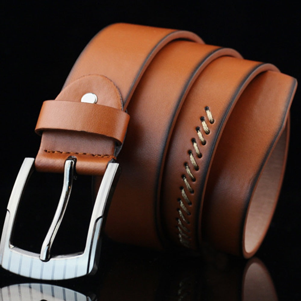 Classic Stitched Leather Belt - Wish Saint