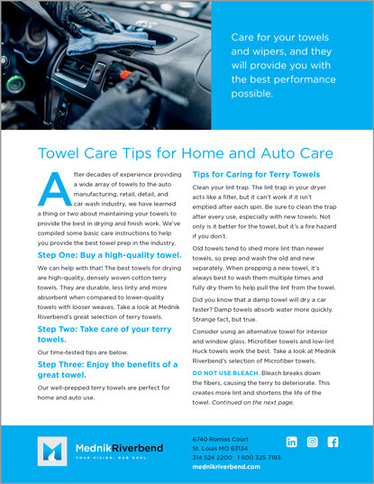 Towel Care Tips for Home & Auto Care