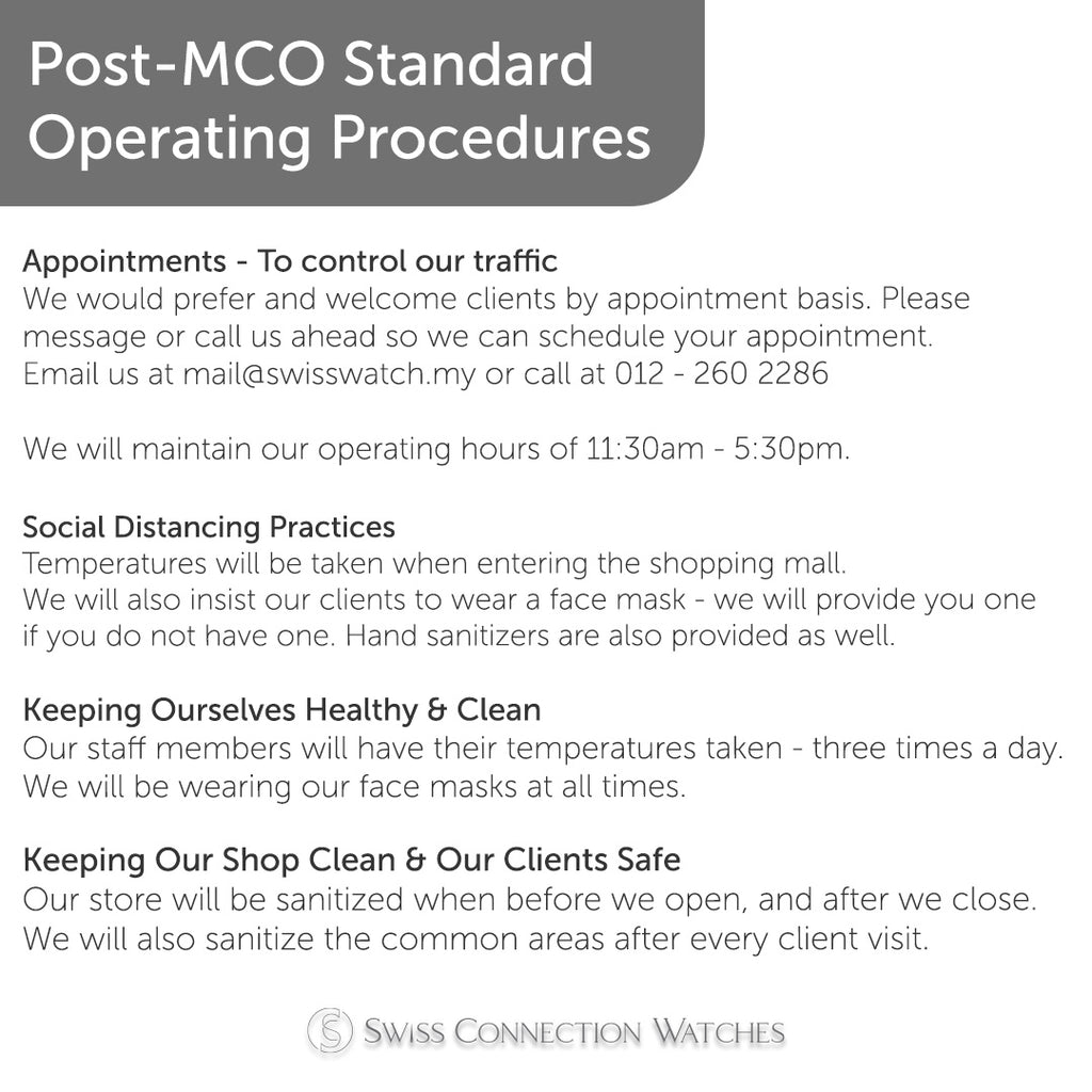 Post-MCO Standard Operating Procedures