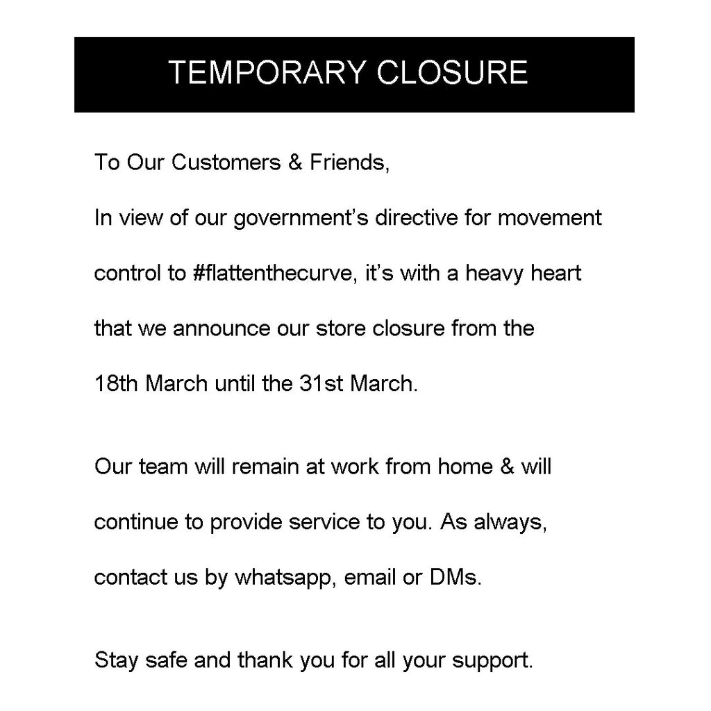 Temporary Closure 18/3 to 31/3
