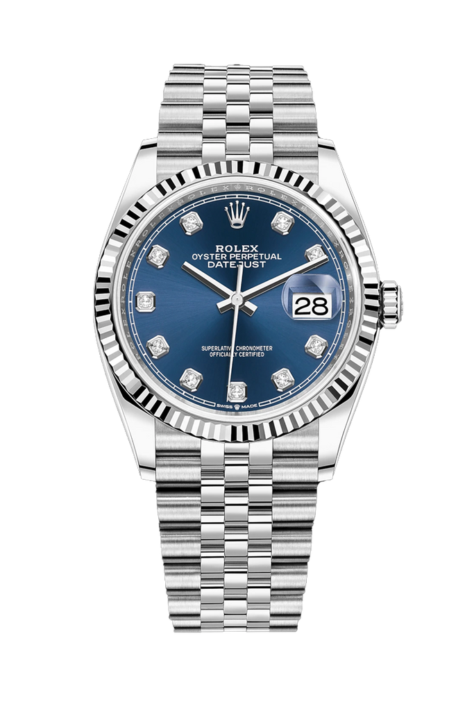 Rolex Datejust 36mm 10 Diamond Blue Dial on Jubilee Bracelet 126234G
