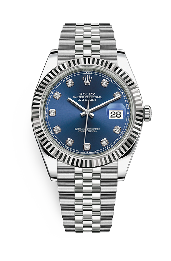 Rolex Datejust 41mm Blue 10 Diamonds on Jubilee Bracelet 126334