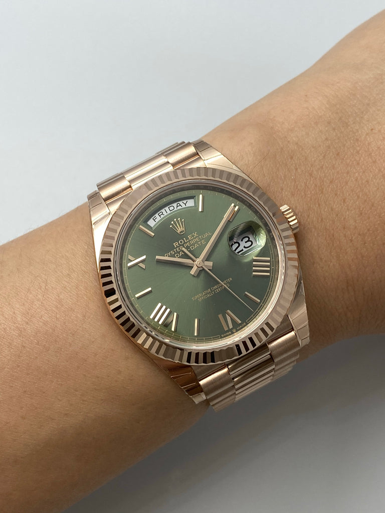 Rolex Day-Date 40 Rose Gold Olive Dial 228235
