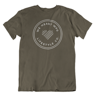 WHW Lifestyle Tee | White on Military Green