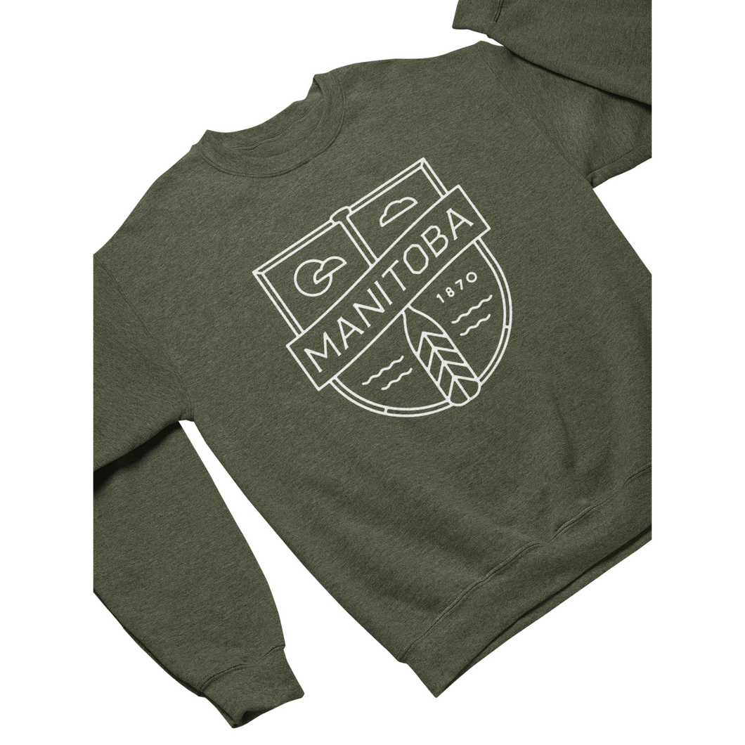 MB Cottage Crewneck | White on Heather Army