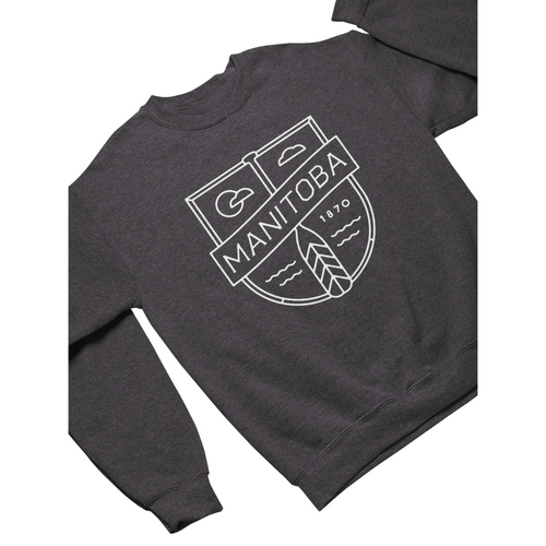 MB Cottage Crewneck | White on Heather Charcoal