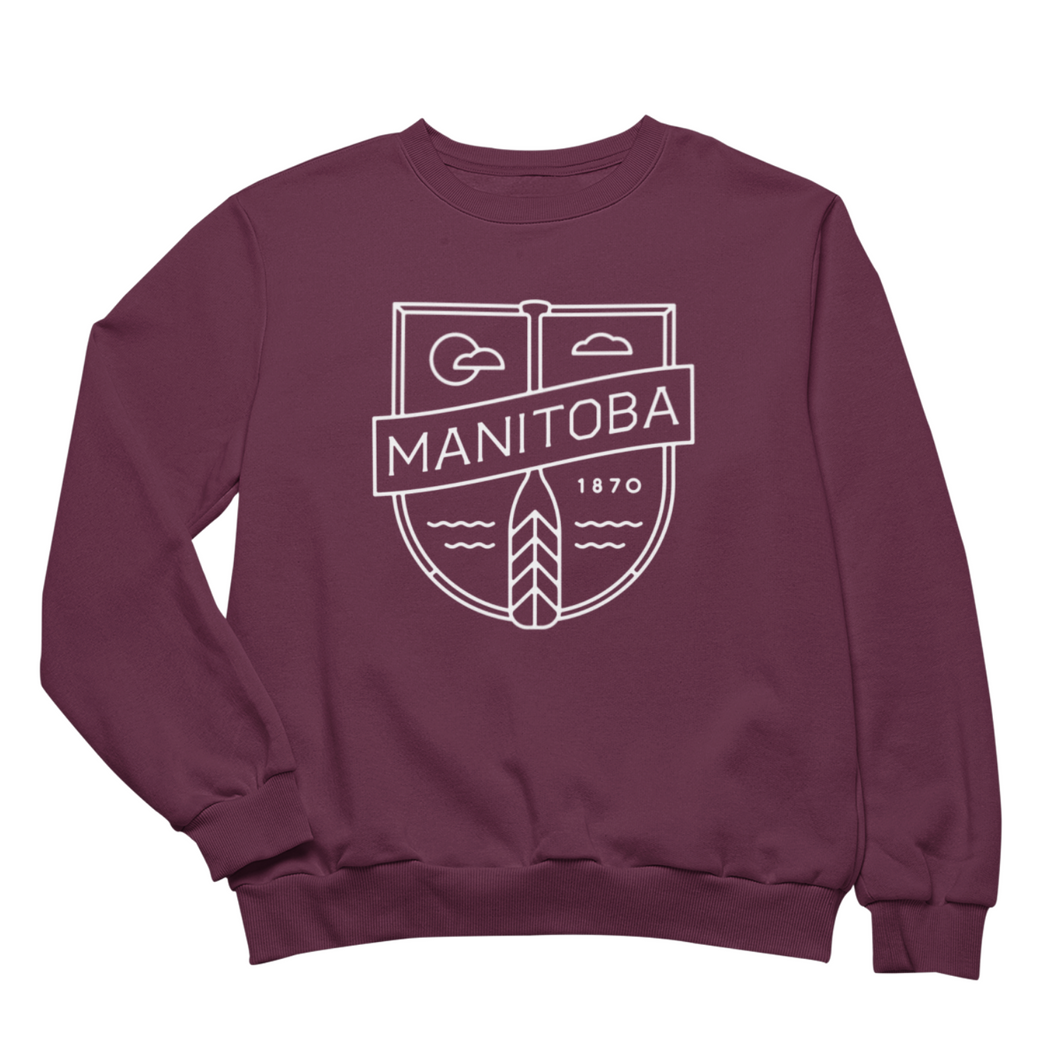 MB Cottage Crewneck | White on Maroon