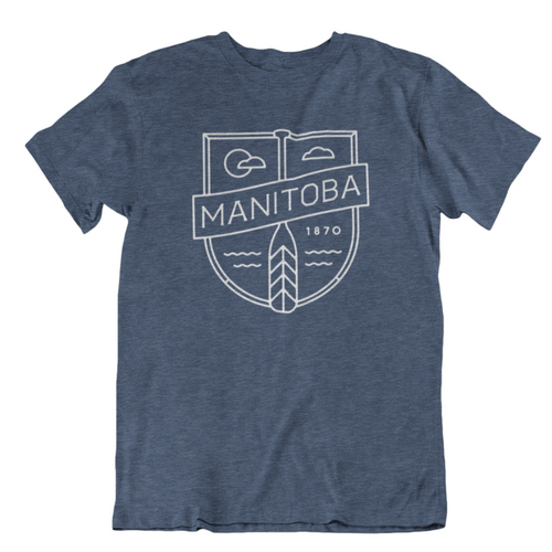 MB Cottage Tee | White on Heather Navy