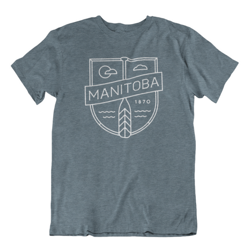 MB Cottage Tee | White on Heather Slate
