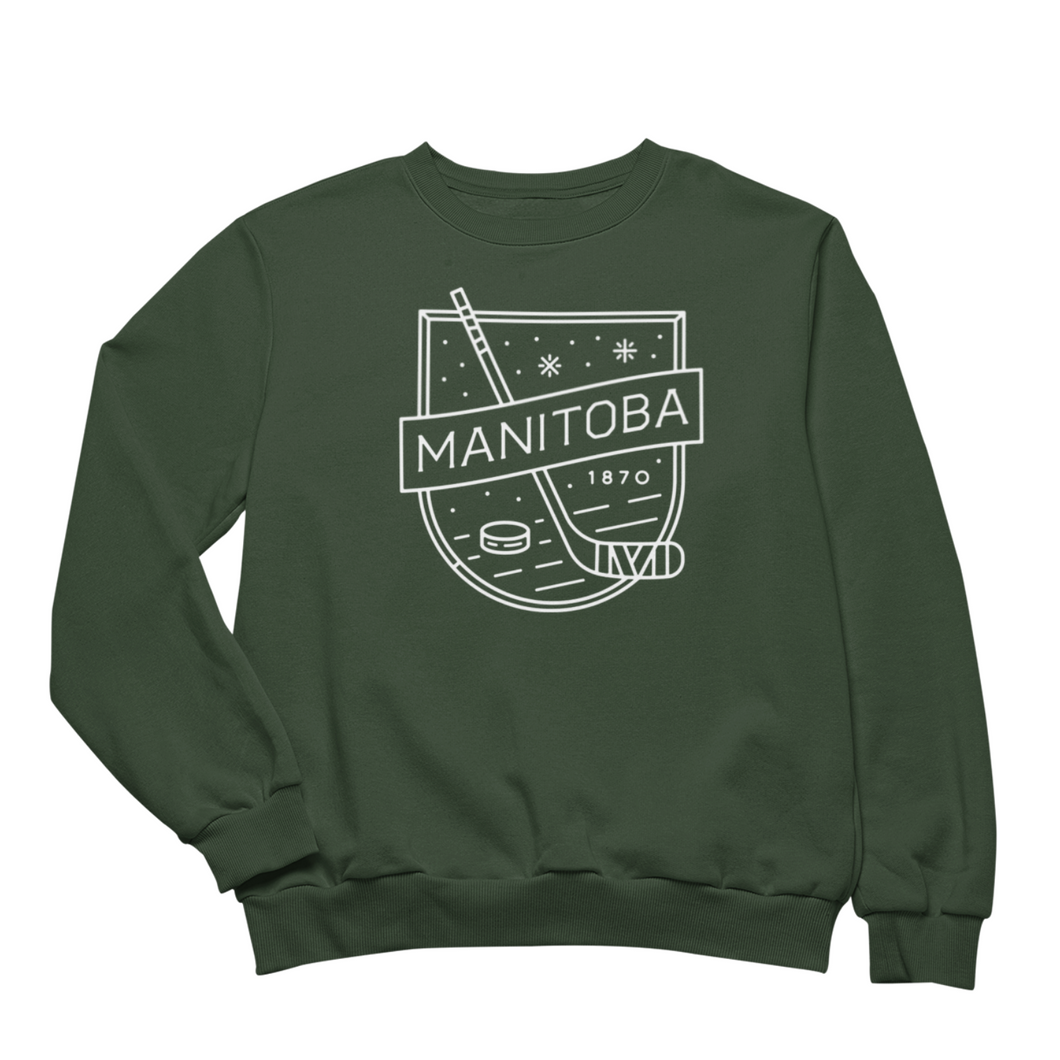 MB Hockey Crewneck | White on Forest