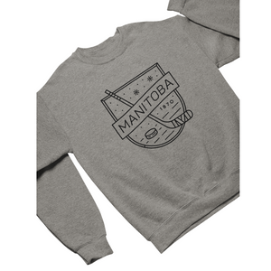 MB Hockey Crewneck | Black on Athletic Grey