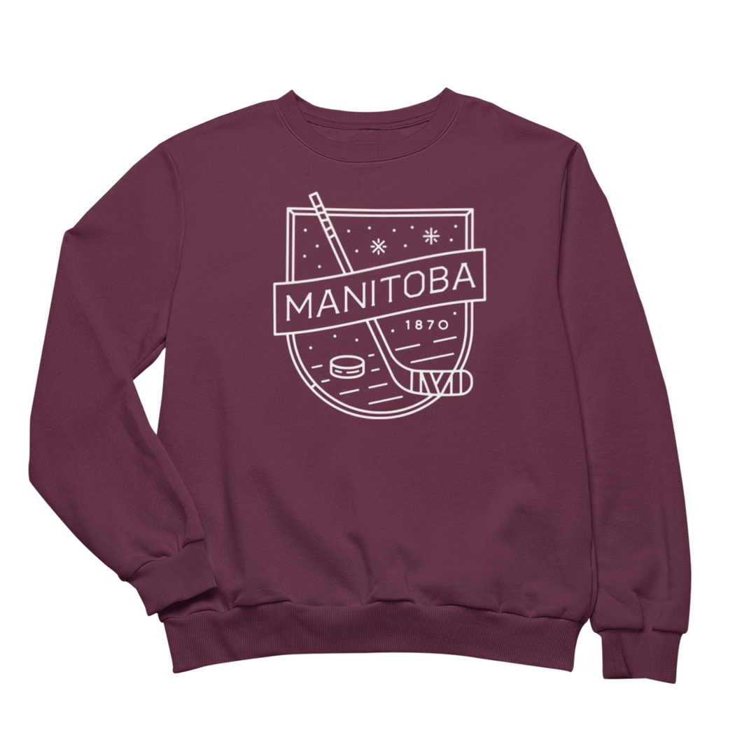 MB Hockey Crewneck | White on Maroon