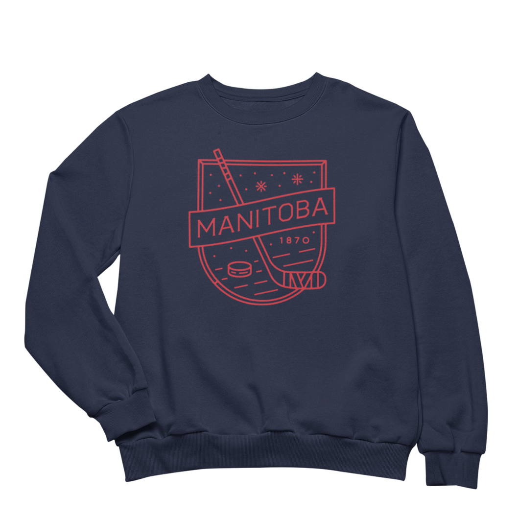MB Hockey Crewneck | Red on Navy