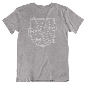 MB Hockey Tee | White on Athletic Grey