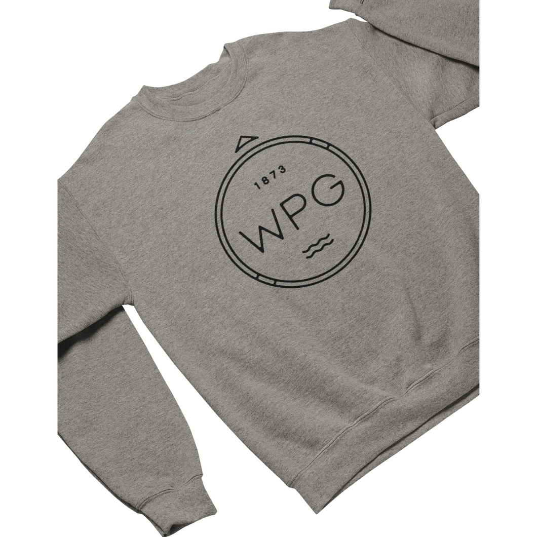 WPG Compass Crewneck | Black on Athletic Grey