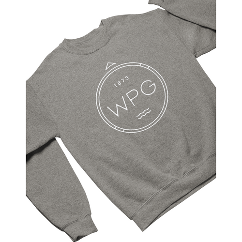 WPG Compass Crewneck | White on Athletic Grey
