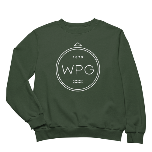 WPG Compass Crewneck | White on Forest Green