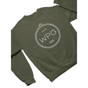 WPG Compass Crewneck | White on Heather Army
