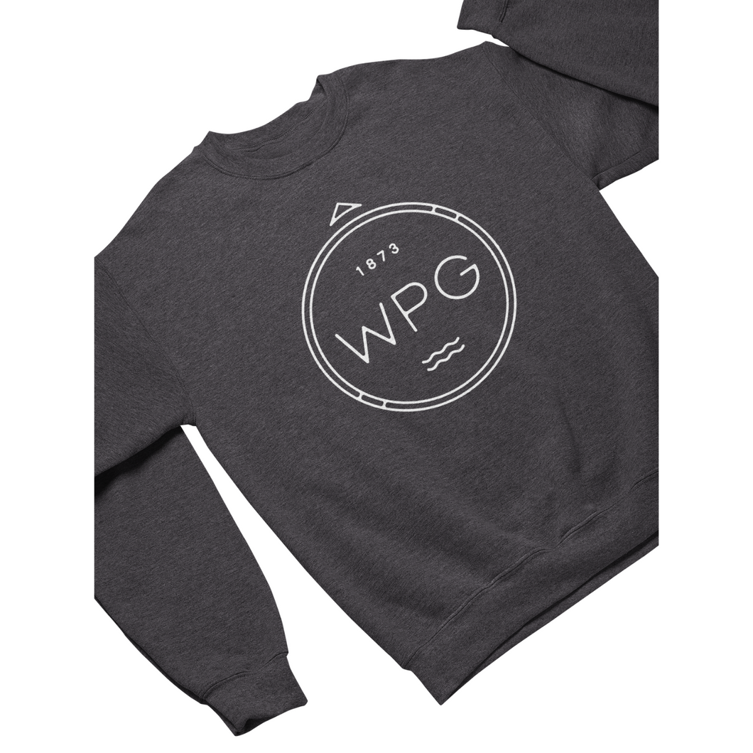 WPG Compass Crewneck | White on Heather Charcoal