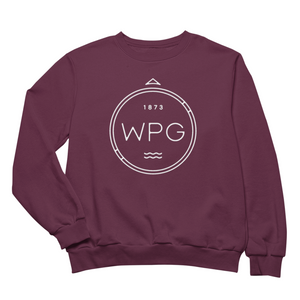 WPG Compass Crewneck | White on Maroon