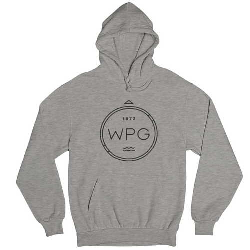 WPG Compass Hoodie | Black on Athletic Grey