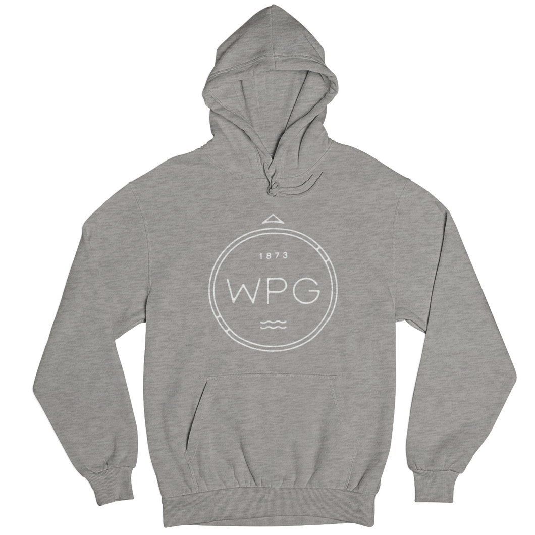 WPG Compass Hoodie | White on Athletic Grey