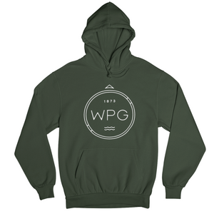 WPG Compass Hoodie | White on Forest Green