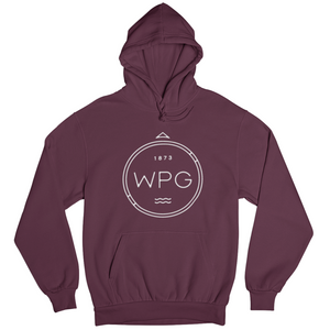 WPG Compass Hoodie | White on Maroon