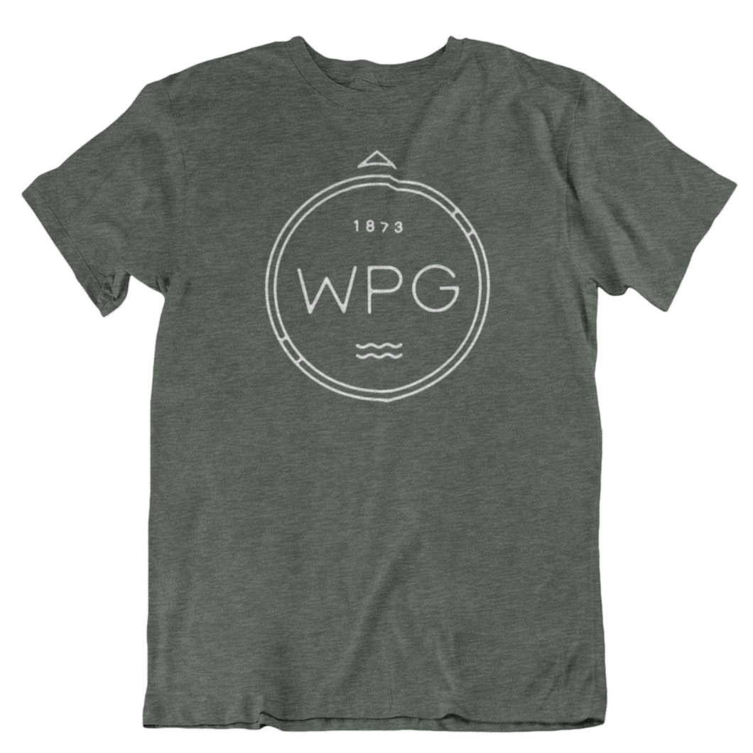 WPG Compass Tee | White on Heather Forest