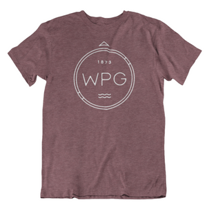 WPG Compass Tee | White on Heather Maroon