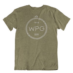WPG Compass Tee | White on Heather Olive