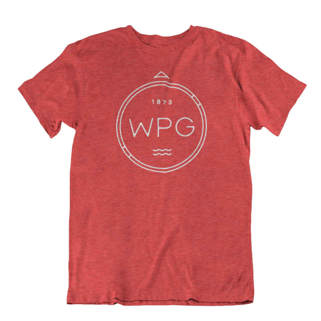 WPG Compass Tee | White on Heather Red