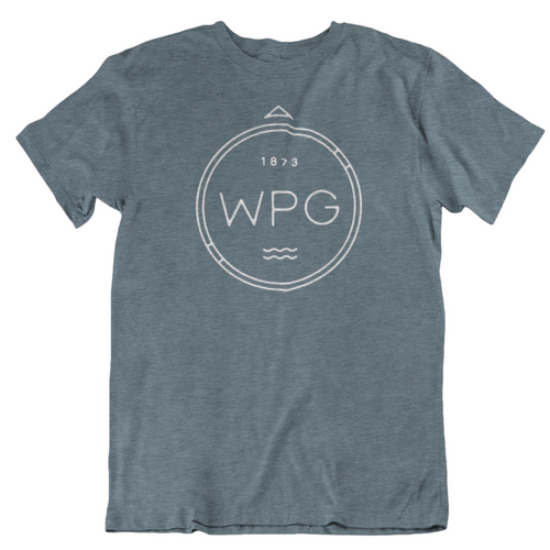 WPG Compass Tee | White on Heather Slate