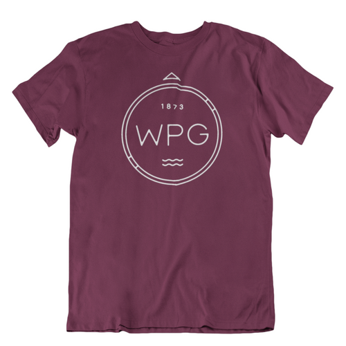 WPG Compass Tee | White on Maroon