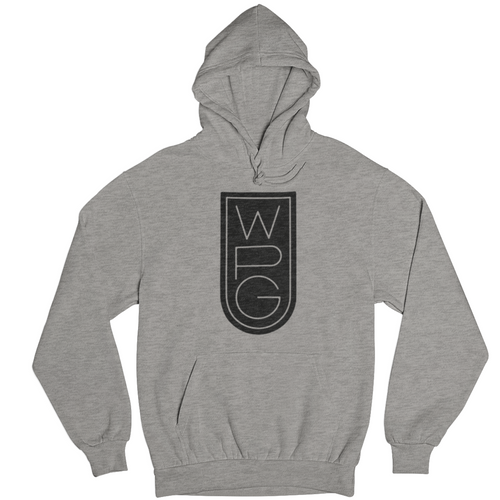 WPG Crest Hoodie | Black on Athletic Grey
