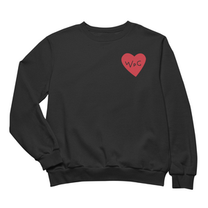 WPG Heart Crewneck | Red on Black