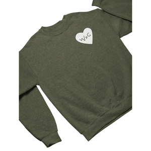 WPG Heart Crewneck | White on Heather Army
