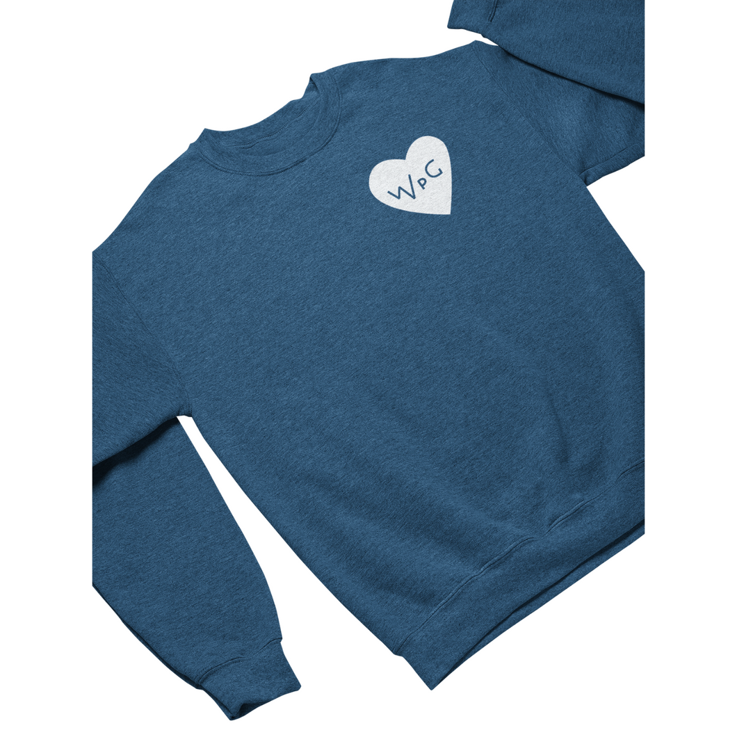 WPG Heart Crewneck | White on Heather Royal
