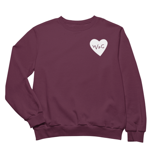 WPG Heart Crewneck | White on Maroon