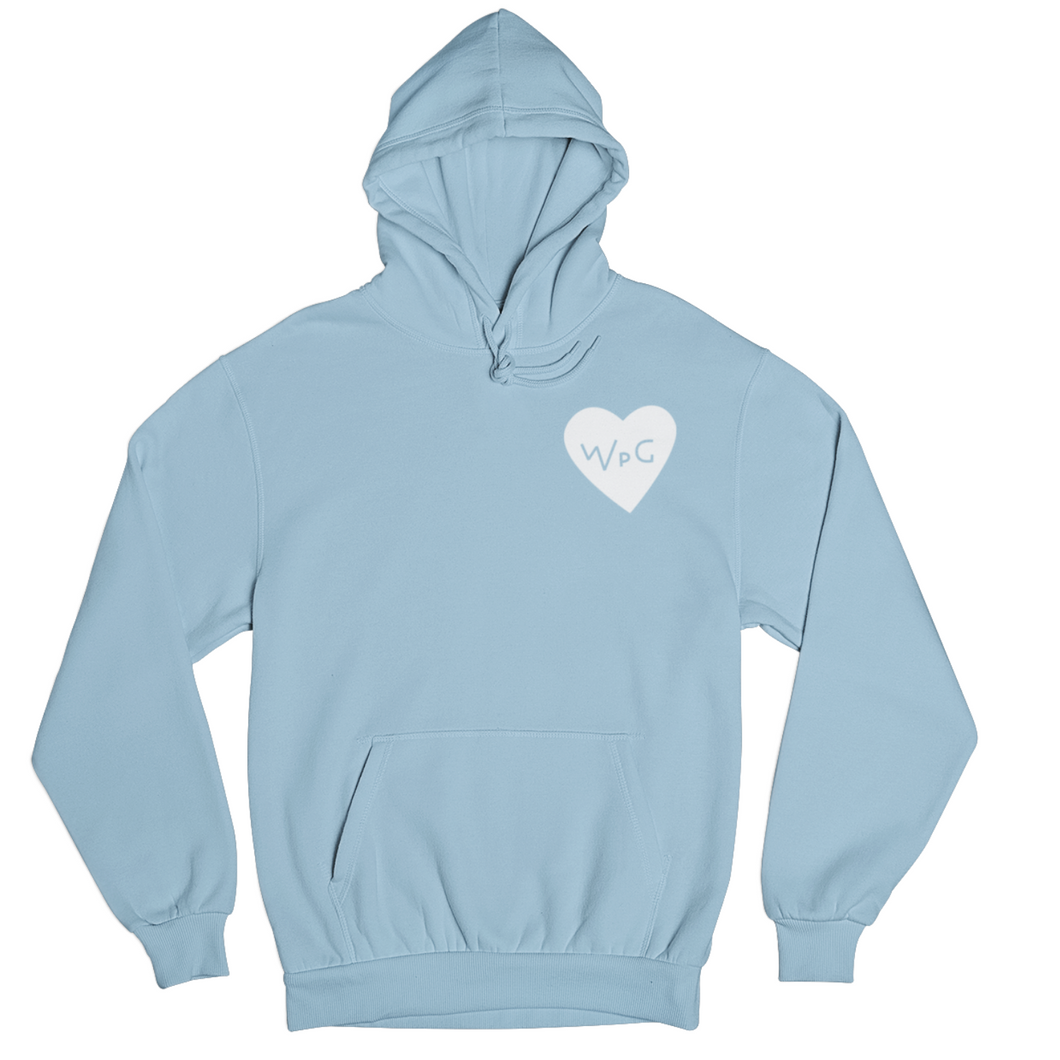 WPG Heart Hoodie | White on Powder Blue