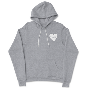 WPG Heart Hoodie | White on Heather Grey