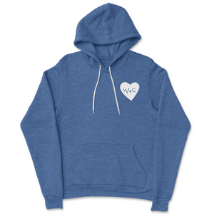 WPG Heart Hoodie | White on Heather Royal