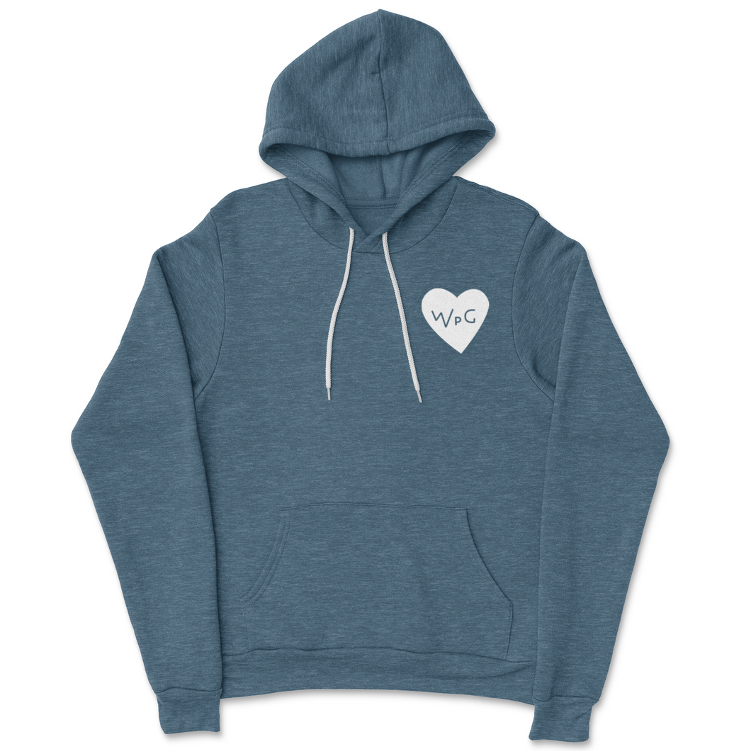 WPG Heart Hoodie | White on Heather Slate