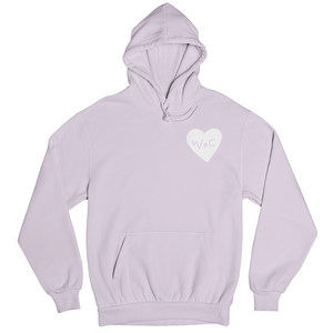 WPG Heart Hoodie | White on Lavender