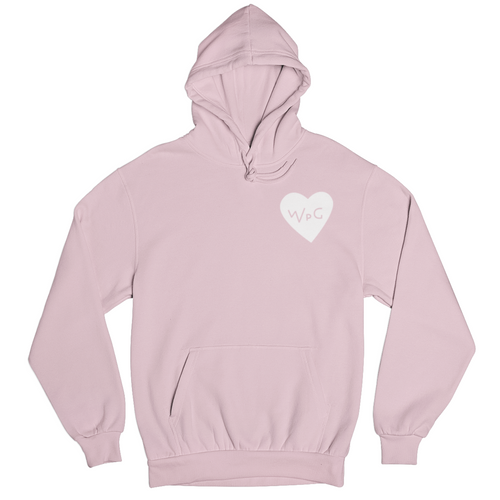 WPG Heart Hoodie | White on Light Pink
