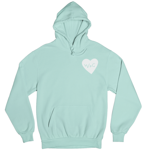 WPG Heart Hoodie | White on Mint