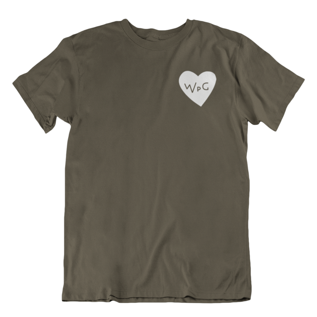 WPG Heart Tee | White on Military Green