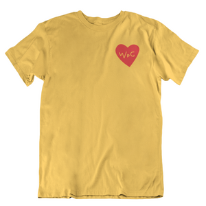 WPG Heart Tee | Red on Gold
